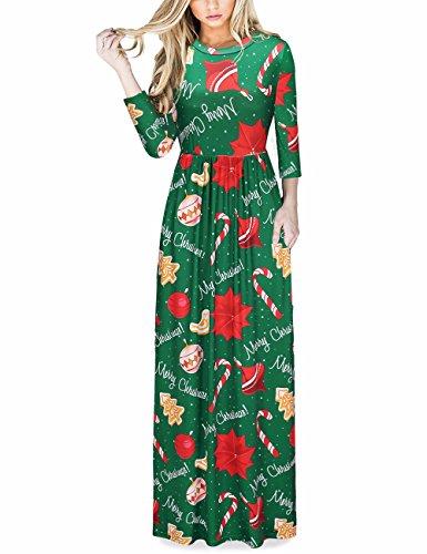 Ruiyige Vestito lungo Maxi da stampa regalo di Natale Xmas Dress Donna