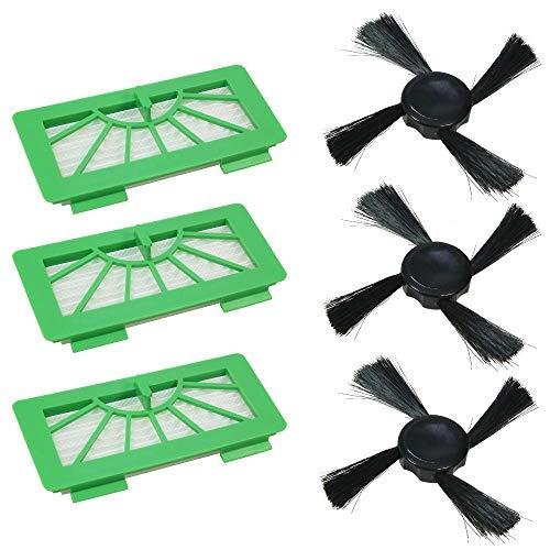 Wartungsset 3x Ersatz HEPA Filter Austausch Staubfilter Allergiefilter Microfilter + 3x Bürsten Seitenbürsten Set für Vorwerk Kobold VR100