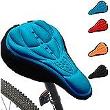Generic ciclismo 3d silicona Gel grueso suave cojín bicicleta de montaña sillín de bicicleta asiento Pad 4colores opcionales, azul