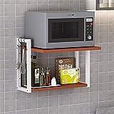 Kitchen shelf Wand-Mikrowellenherd-Rack, Küche Double-Layer-Storage Rack, Wand- Multifunktionshalterung Ofenrost, Lagerung und Würzen Rack (Größe: 57 * 18.5 * 35cm) Mikrowellen-Rost (Color : Red)