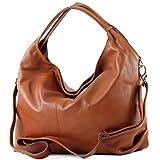 modamoda de - Made in Italy Sac à main italien sac porté à l'épaule en cuir femme sac en cuir souple DS26, Präzise Farbe (nur Farbe):Cognac
