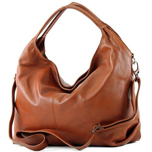 modamoda de - DS26 - ital Damenhandtasche aus Nappaleder, Farbe:Cognac