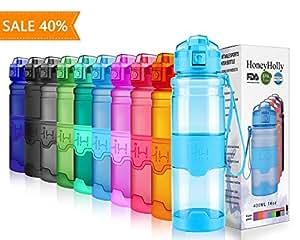 HoneyHolly bottiglia d'acqua sportiva 400ml/500ml/700ml/1 litro, senza bpa tritan plastica, riutilizzabile & a prova di perdite borraccia acqua a con filtro per bambino, scuola, palestra, sport (14oz/400ml, Glossy Azzurro)