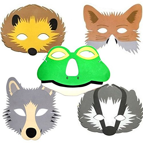 5-woodland-animal-childrens-foam-face-masks-fox-badger-hedgehog-wolf-frog