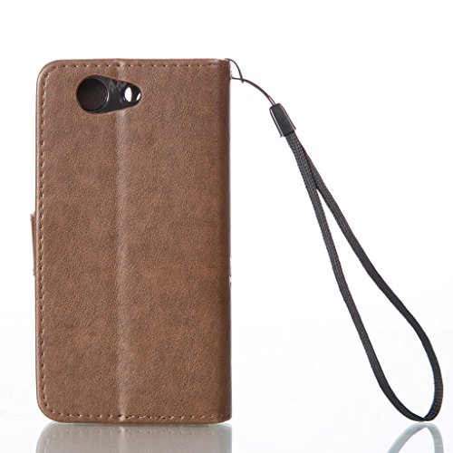 qimmortal Custodia Samsung Galaxy S7 Edge, con protezione schermo temperato], qimmortal fiori e farfalle pattern pu portafoglio in pelle con porta carte di credito Cover per Samsung Galaxy S7 Edge, Light brown
