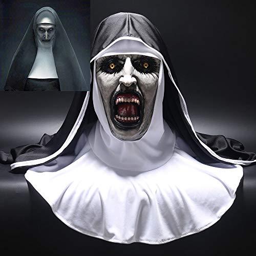 Die Nonne Horror Maske Cosplay Valak Beängstigend Latex Masken Mit Kopftuch Schleier Kapuze Voller Gesicht Helm Horror Kostüm Halloween Prop