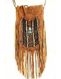 Bolso de cuero, bolso boho, bolso de flecos, bohochic, color camel envejecido