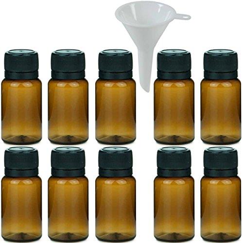 10 x braune Apothekerflasche 10 ml, Medizinflasche Kunststoff (PET) inkl. Einfülltrichter (Leere Pet-flaschen)
