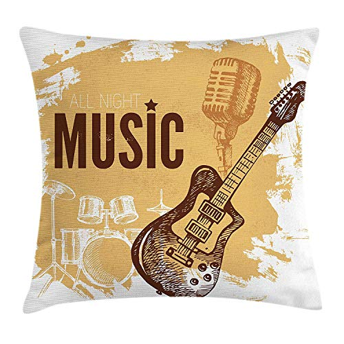 ic Throw Pillow Cushion Cover, Vintage Sketch Hand Drawn Drums and Microphone Pattern Abstract Backdrop, Decorative Square Accent Pillow Case, 18 X 18 inches, Pale Coffee Brown ()