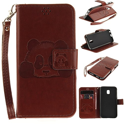 Solid Color Embossed Panda Pattern Horizontale Folio Flip Stand Brieftasche Case Cover mit Card Slots & Lanyard für Samsung Galaxy J3 2017 J330 Europäische Version ( Color : Gold ) Brown