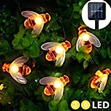 Cadena de Luces Solar 15FT/4.5M 30 LED Guirnalda de Luces Solar Exteriores Impermeables en forma de Abeja para Jardín Patio Árboles Césped Color Blanco Cálido