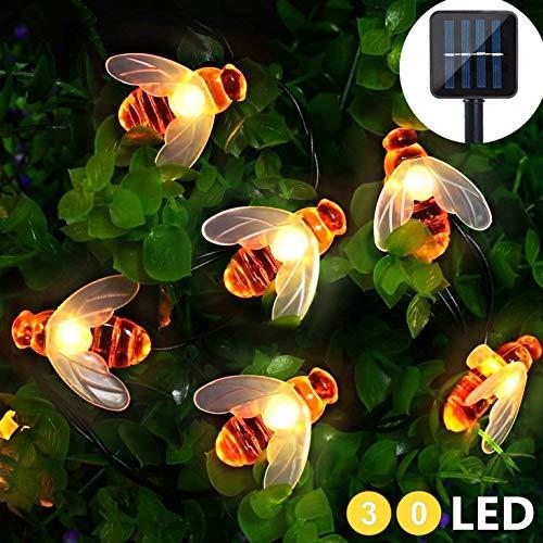 arten 30 LED 4.5M/15FT Biene Lichterkette Außen mit Solar Panel für Dekoration Party Hochzeit Garten Terrasse Blume Baum Rasen (Warmweiß) ()