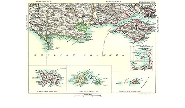 Guernsey England Map.Dorset Hampshire Coast Channel Islands Jersey Guernsey Isle Of