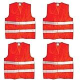 4 Stück Maxpack Warnweste mit praktischem Klettverschluss in Unigröße --- EN 471, Orange, waschbar (4)
