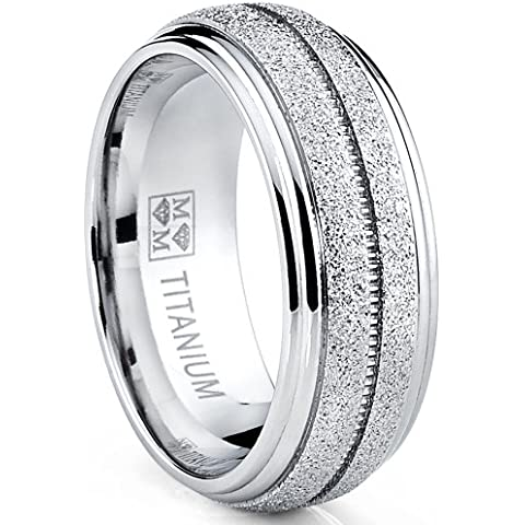 Ultimate Metals® Anillo de Matrimonio Titanio Para Hombre, Banda Domo Acabado Mate 8mm