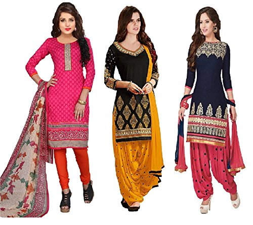 Dress Materials(Women\'s Clothing Dress Materials for women latest designer wear Dress Materials collection in Pure Cotton material latest Dress Materials with designer Top Bottom and Dupatta free siz