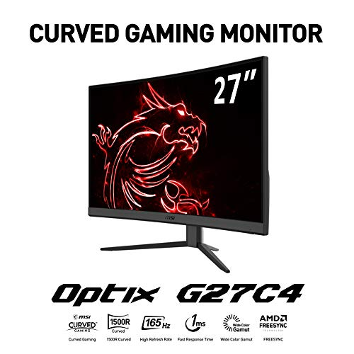 MSI Optix G27C4 - Monitor Gaming de 27' LED FullHD 165Hz (1920x1080p, ratio 16:9, Panel VA, pantalla curva 1500R, 1 ms respuesta, brillo 250 nits, Anti-glare, NTSC 0.85 y SRGB 1.15) negro