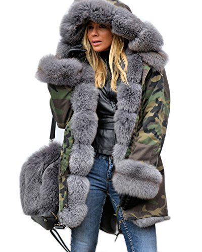 220cf6d2a6557 Roiii LADIES HOODED WINTER FAUX FUR JACKET WOMENS COAT TOP PLUS SIZES 8 14  18 20