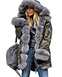 Roiii Lady Winter Women Thicken Warm Coat Hood Parka Long Jacket Outwear Size 8-20 (10, Amry Grey)