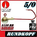 Adrenalin-Fishing VMC Jigkopfhaken Jigkopf Rund 5/0 10g Jighaken 10 Stück im Set für Gummifische