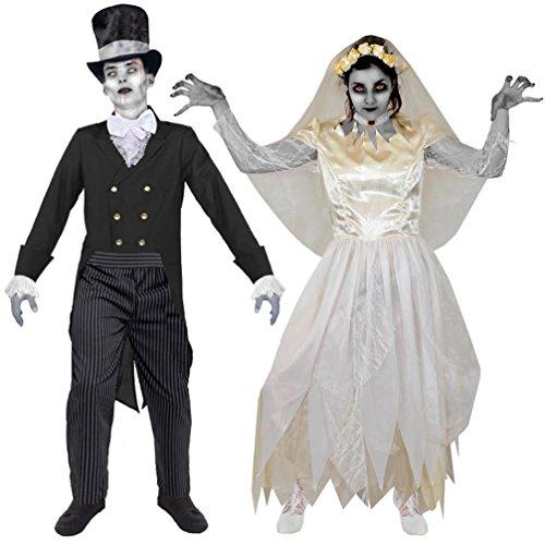 DER SUPER KLASSE FÜR DIE PERFEKTE PAARE VERKLEIDUNG AN HALLOWEEN ODER KARNEVAL = VON ILOVEFANCYDRESS®=BEIDE KOSTÜME SIND ERHALTBAR IN 5 VERSCHIEDENEN GRÖßEN =(FRAUEN-MEDIUM)+(MÄNNER-LARGE) (Scary Halloween-kostüm Für Paare)