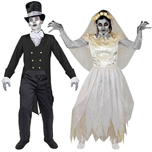 Geister Zombie Vampir Paar KOSTÜM VERKLEIDUNG Halloween Fasching Karneval=BEIDE KOSTÜME SIND ERHALTBAR IN 5 VERSCHIEDENEN ()