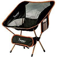 Syourself Silla de camping plegable portátil, ligera, compacta, cómoda, transpirable, para playa, para senderismo, picnic, actividades al aire libre y deportes con bolsa de transporte, naranja