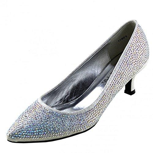 Kick Footwear - Donna Corte Tacco Diamante Scarpe Da Sposa Partito Delle Signore Scarpe Glitter Argento