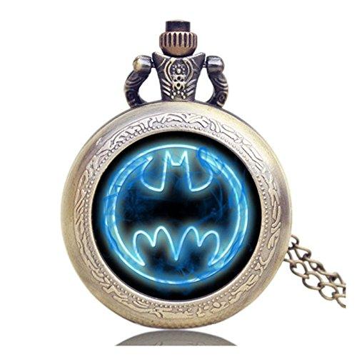 Batman Fluo Blue Logo Antik Bronze Effekt Retro/Vintage Case Herren Quarz-Taschenuhr Halskette–auf 81,3cm Zoll/80cm Kette