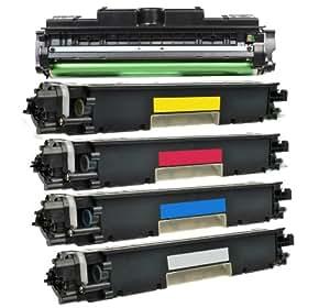 Premium 4 Cartouches Toner & Tambour 126 CE314A Compatible pour HP CF350A, CF351A, CF352A, CF353A 130A HP Color LaserJet Pro MFP M 176 n, Pro MFP M 177 fw (BK,C,Y,M)