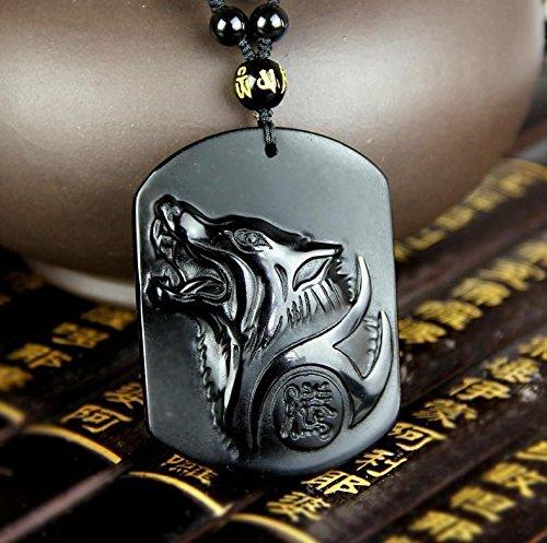 Anhänger Wolf–Freiheit und Stärke–natürlichen Obsidian (Symbol Natürliche)