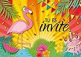 Edition Colibri 10 Invitations en Français Fête du Flamant Rose: Lot de 10 Cartes d'invitation pour Un Anniversaire de Filles des (11050 FR)