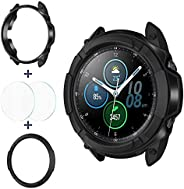 Goton 3 in 1 Accessories for Samsung Galaxy Watch 3 45mm, 1 Rugged TPU Armor Bumper Case +2 Tempered Glass Scr