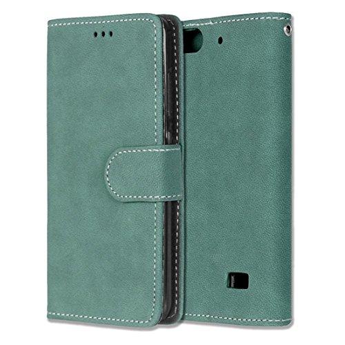 Chreey Huawei Honor 4C/G Play Mini Hülle, Matt Leder Tasche Retro Handyhülle Magnet Flip Case mit Kartenfach Geldbörse Schutzhülle Etui [Grün]