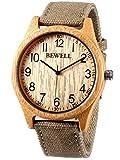 Alienwork Armbanduhr Herren Damen Uhr Canvas Armband Lederarmband Lederband grün Quarz Herrenuhr Damenuhr gelb natürliche Bambus handgefertigt