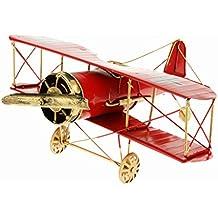 Juguetes Juegos Decoraciones Hogar Colección Modelo Avión Biplano Metal Estaño 27*31*14cm - Rojo