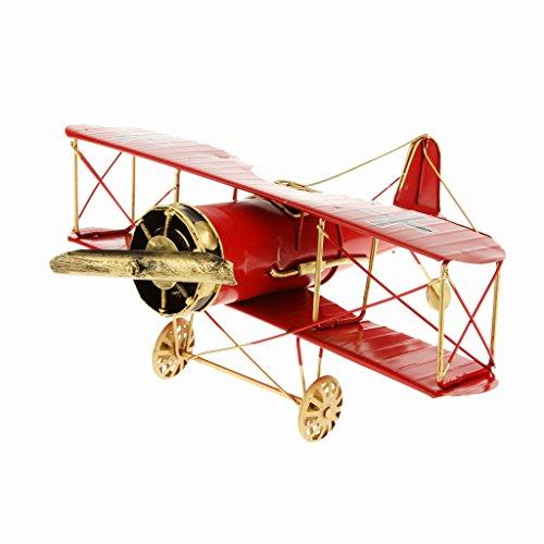 Avions en Métal étain Avion Biplan Décor à La Maison Modèle Collection Jouets - # 8, 27*31*14cm