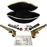 com-four® Zubehör-Set I. für Piraten-Kostüme - Ideal für Karneval, Motto-Partys und Kostümveranstaltungen (11-teilig)