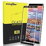 NONZERS Pellicola Protettiva per Samsung Galaxy Note 8 Vetro Temperato[1 Pezzi], Pellicole Protettive, Copertura Completa, 3D Curvo, Durezza 9H, Alta Trasparenza, Anti-Graffi, Anti-Impronte, Nero