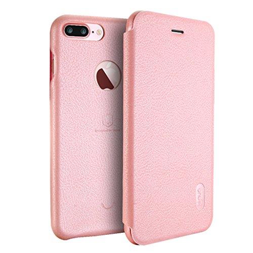 iPhone 8 Plus Hülle - Vollständiger Schutz Soft Basis Folio Flip Schutzhülle Leder Cover Tasche mit Kartenfach für iPhone 8 Plus - Schwarz Pink