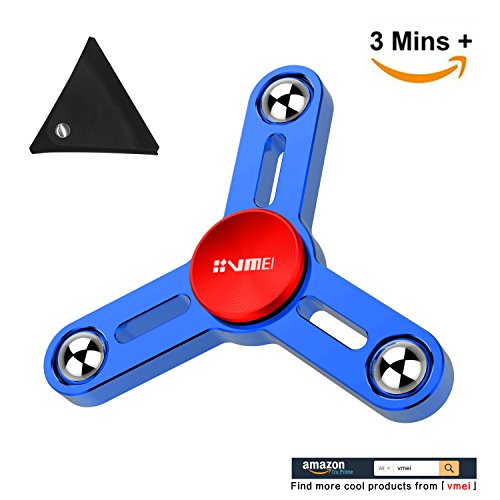 Tri-spinner fidget toy new 2017 all metal design super fast long spins nano-crystallization center quality spinners focus toy for kids & adults (blue plus)