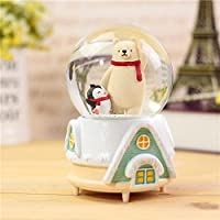 Preisvergleich für Baby-lustiges Spielzeug Netter Eisbär in der Kristallkugel-Spieluhr mit sich hin- und herbewegenden Schneeflocken für kleines Geschenk (grüne Basis)