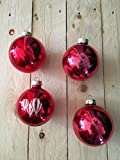 4 Weihnachtskugeln inkl. Gravur nach Wunsch (rot)