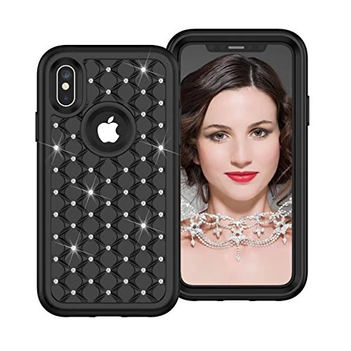 iPhone X Hülle, Lantier Anti Slip Scratch Dual Layer Heavy Duty Luxury Bling Crystal Diamond Hybrid Armor Hard Soft Rubber Full Body Protective Durable Shockproof Case Cover für Apple iPhone X Schwarz / Rose