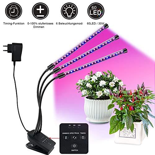 FHzytg Dimmbar Wachstumslampe mit Timing-Funktion, Automatische EIN-/ Ausschalten 6 Modus, 60 LED Lampe Perlen 30W Pflanzenlicht Wachsen licht für Zimmerpflanzen, Aluminiumlegierung+PC, 30 W, Schwarz
