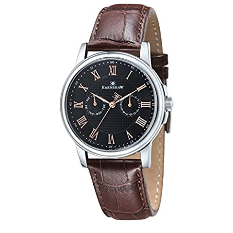 Thomas Earnshaw Men's Flinders Quartz Watch with Rose Gold Dial Analogue Display and Brown Leather Strap