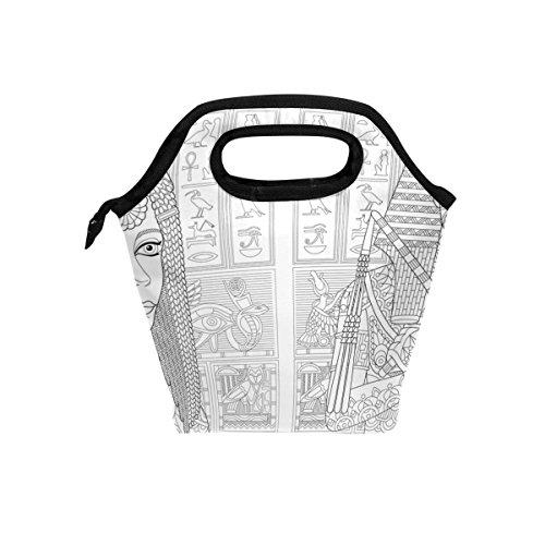jstel Antike Pharao Tutenchamun Queen Cleopatra Lunch Bag Handtasche Lunchbox Frischhaltedose Gourmet Bento Coole Tote Cooler Warm Tasche für Reisen Picknick Schule Büro
