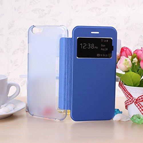 Wkae® iPhone 6S (4,7 Inch) h¨¹lle - Neue Smart-Fenster-Ansicht Flip Folio H¨¹lle f¨¹r iPhone 6 (nicht passen iPhone 6 Plus 5,5 Zoll, iPhone 5 5S 5C 4 4S) (wei?) Blue