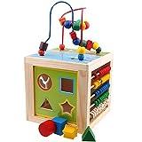 BEETEST ábaco de Madera Niños 5 en 1 juguete de madera educativo alrededor de juguetes de perlas Laberinto abalorios Ábaco Shape