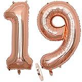 2 Luftballons Zahl 19, Nummer 19 Luftballon Rosegold Mädchen ,40' Aufblasbar Helium Folienballon Roségold Ballons Figuren ,Riesen Ballon für Geburtstag Party Dekoration, Abschlussball (xxxl 100cm)